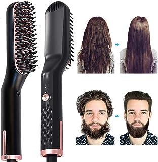 Beard Straightener Comb AUSELECT 3IN1 Hair Straightener Brush, Heated Beard Brush Ceramic Ionic Heating Control Electric H...