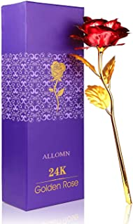 ALLOMN 24K Golden Rose, Plastic Long Stem Real Rose Dipped in Gold with Gift Box, Best (Red)
