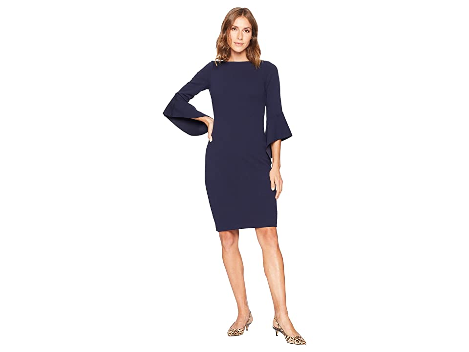 Vince Camuto Circle Sleeve Bodycon Dress (Navy) Women
