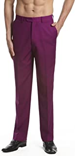 Men's Dress Pants Trousers Flat Front Slacks EGGPLANT PURPLE Color