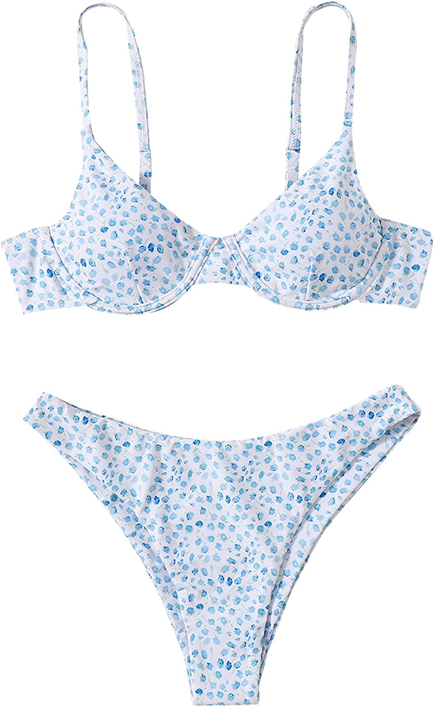 SweatyRocks Women's Sexy Bathing Suits Spaghetti Strap Floral Bikini Set Underwire Swimsuit