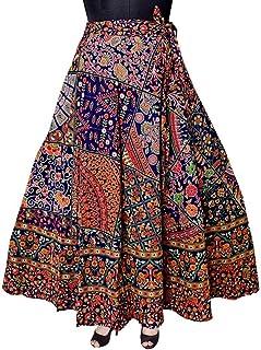 FrionKandy Women's Jaipuri Rajasthani Sanganeri Printed Cotton Elastic Skirt (Blue; Free Size)