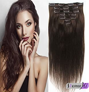 """Remeehi 15""""-30"""" 7Pcs Full Head Set Brazilian Silk Straight Human Hair Clip In On Hair Extensions Thick Hairpieces 120G (30"""" 1# Jet Black)"""