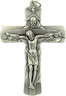 Made in Italy Holy Trinity Cross 4 Inch Silver Tone Huge Bishop Minister Pectoral Crucifix Pendant