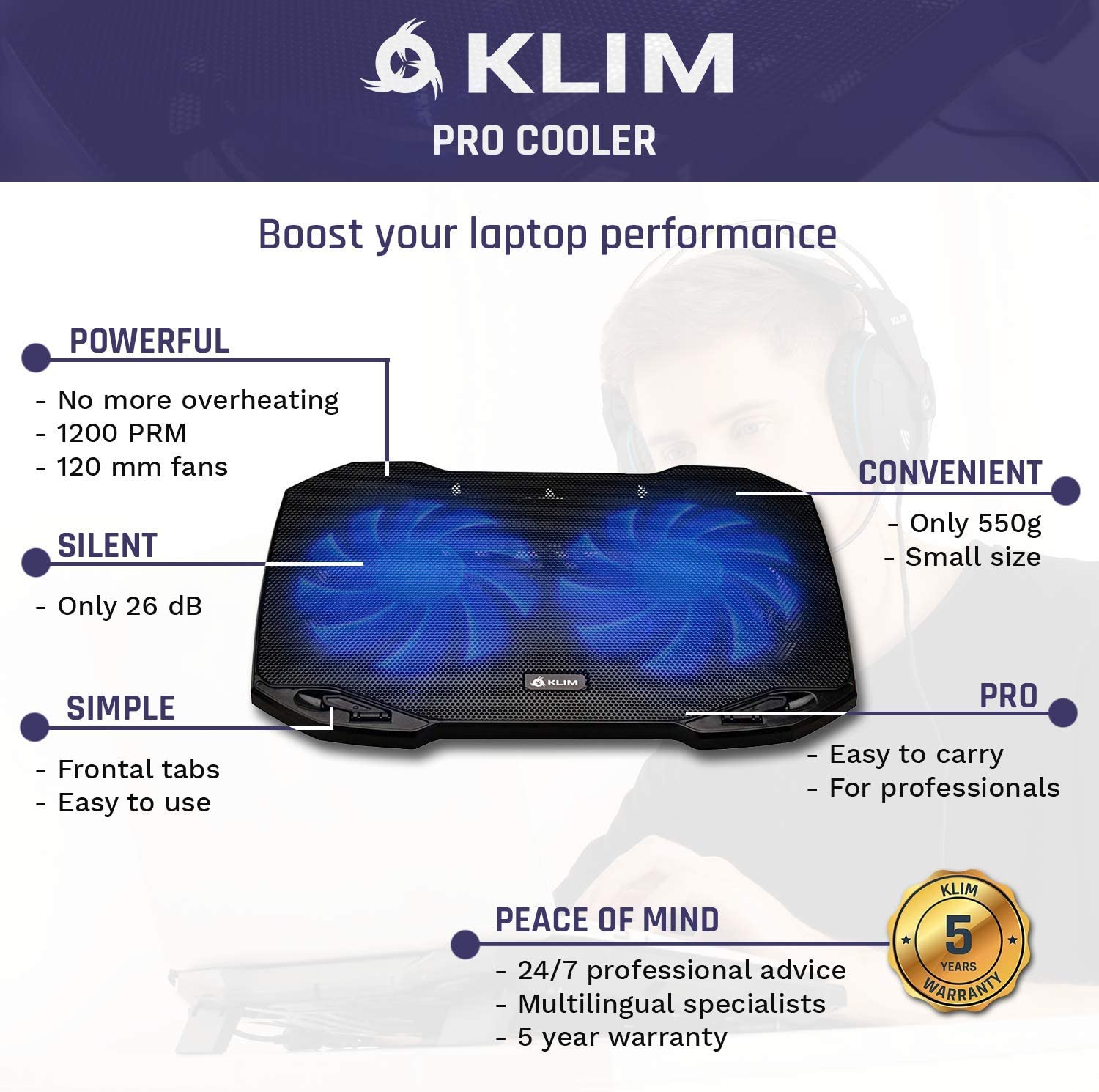 """Light 10/"""" to 15,6/"""" Compact White Black New 2020 Version The Laptop Cooling Pad for Professionals Durable Extra USB Port KLIM Pro Easy to Carry Laptop Cooler with Fans"""