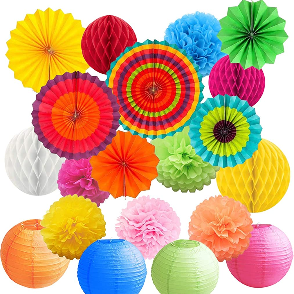 BRT Colorful Honeycomb Balls Tissue Paper Pompoms Flower Hanging Paper Fans Paper Lantern for Birthday Wedding Festival Christmas Fiesta Party Decoration