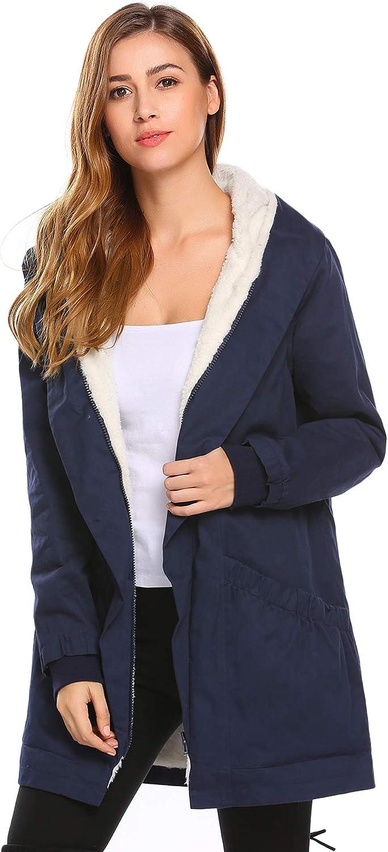 Misakia Women's Winter Warm Coat Hooded Parkas Overcoat Fleece Outwear Jacket with Drawstring