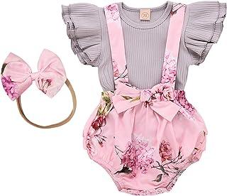 MRULIC Baby Mädchen Outfits Kleidung Bowknot Weste Tops  Plaid Shorts Hosen Sets Anzug 1-6 Jahre