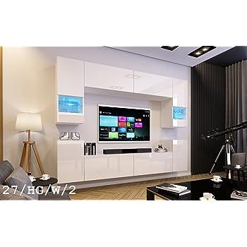 HomeDirectLTD Future 29, Conjunto de Muebles De Salón, Módulo Bajo para TV Y Multimedia, Unidad de Entretenimiento, Mueble TV, Suite a Estrenar (Iluminación RGB LED Opcional) (29_HG_W_2, Verde LED): Amazon.es: Hogar
