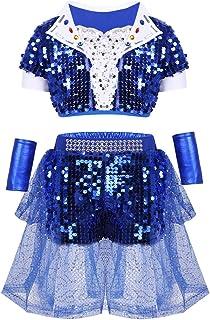 1af202005de YOOJIA Enfant Fille Garcon Jazz Hip-hop Costume Danse Latine Paillette  Strass Brillante Tutu Enfant