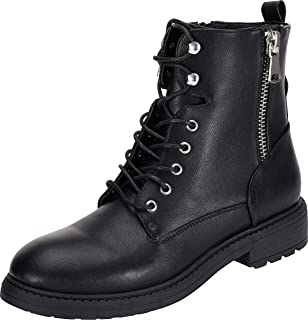 Women's Black Combat Boots Fashion Martin Booties Lace Up