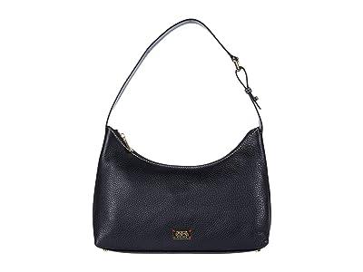 Frances Valentine Laura Tumbled Leather Hobo (Black) Hobo Handbags