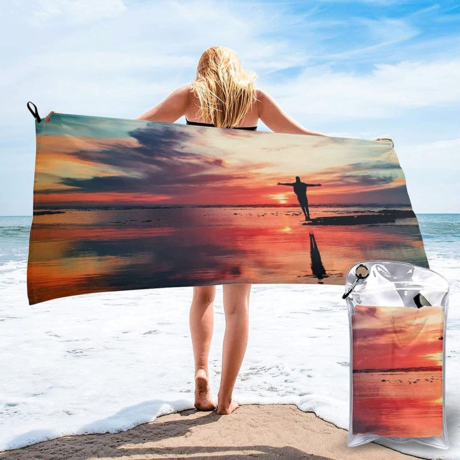 Standing in The Lake Print Ranking TOP4 Towels Towel Dry Sales Quick for