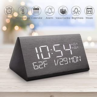 Warmhoming Wooden Digital Alarm Clock with 7 Levels Adjustable Brightness, Voice Command Electric LED Bedside