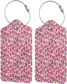 Leather Luggage Tag, Waterproof Luggage Tag, Unisex Hearts Cute Girly Bowties Stripes (1,2 & 4 Pack)