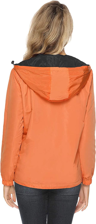 Abollria Damen Regenjacke Zweiseitig Tragbare Kurze Jakce Leichte wasserdichte Übergangjacke Kontrastfarben mit Beutel Orange/Schwarz