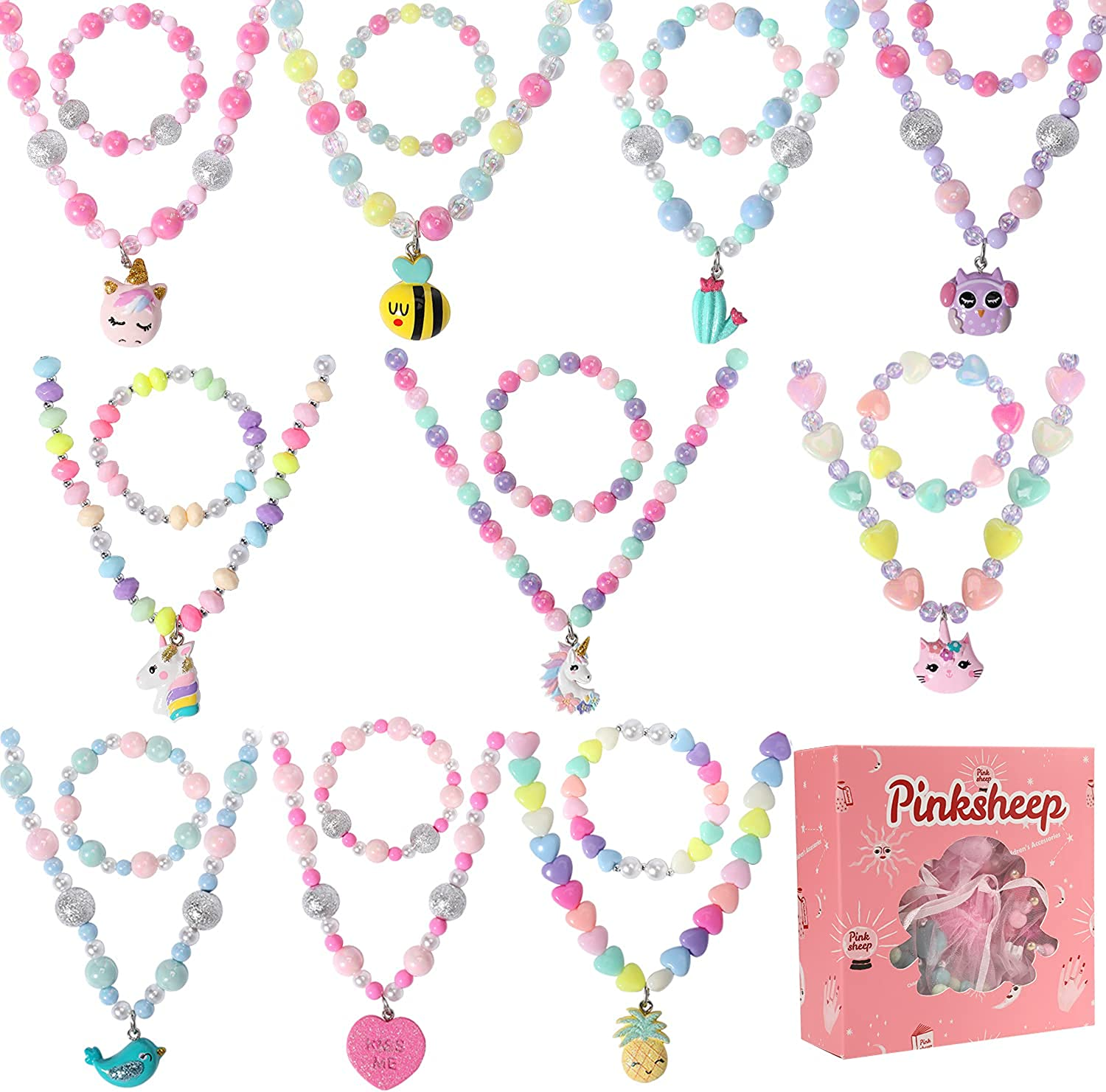 PinkSheep Jewelry Sets Beaded Necklace and Beads Bracelet for Ki