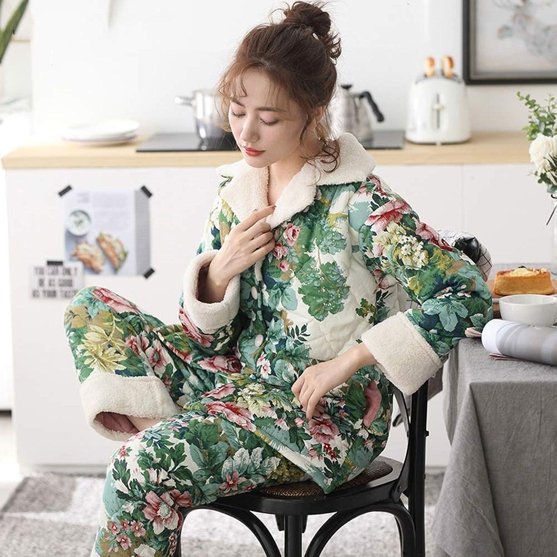 ZZHF shuiyi Pajamas, ThreeTier Thicken Cotton Pajamas Keep Warm Winter Comfortable Casual Clothing Printing Splice Loose Soft Home Clothing Pajamas (color   Green, Size   L)