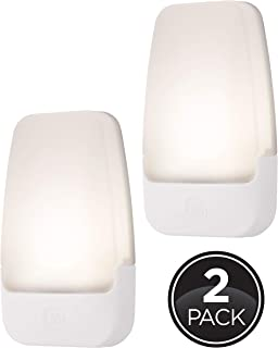 GE LED Night Light, 2 Pack, Plug-in, Dusk-to-Dawn Sensor, Home Décor, Ideal for Bedroom, Nursery, Bathroom, Hallway, Soft, 30966, White | Automatic, 2