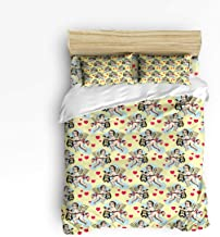 Full Size 4 Piece Bedding Set for Girls Boys Children Adult, Europe Art Naked Loving Angel Playing Harp Duvet Cover Set Ultra Soft and Easy Care Sheet Quilt Sets with Decorative Pillow Covers
