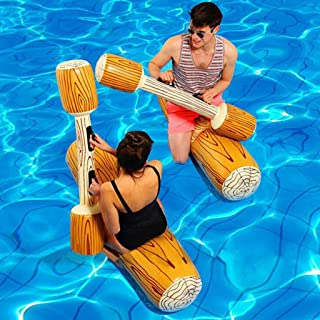 Sumeier 2 Pcs Set Inflatable Floating Row Toys Children Adult Inflatable Water Joust Tree Log Pool Float Game Set Ride on ...