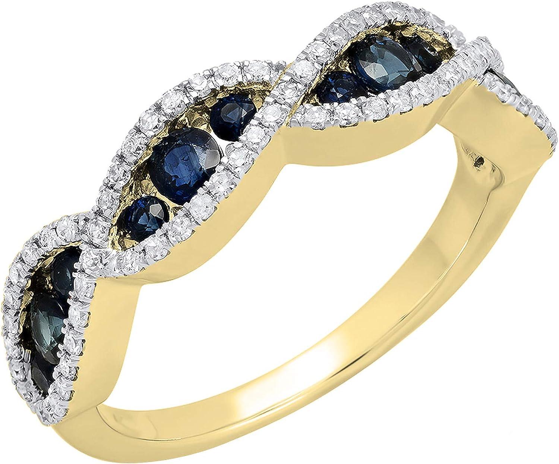 Dazzlingrock Collection 18K Gold Round Blue Sapphire & White Diamond Bridal Anniversary Wedding Swirl Ring