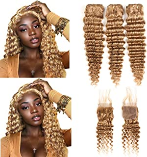 XCCOCO Hair Honey Blonde Deep Wave Bundles with Closure Pre Colored 27# Human Hair 3 Bundles with Closure Curly Hair 100% Peruvian Virgin Human Hair Extensions(10 10 12+10inch Closure)