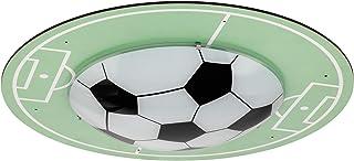 EGLO TABARA Lámpara de techo, lámpara infantil con diseño de fútbol, decoración para niños y niñas, lámpara de tapa de 40 cm de diámetro, para habitación infantil, verde/blanco, madera, 60 W