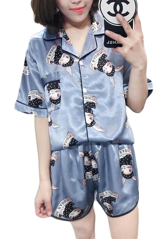 BSCOOLレディース パジャマ ゆったり 上下セット カジュアル ルームウェア 部屋着 シルク かわいい【トップス+短パン】