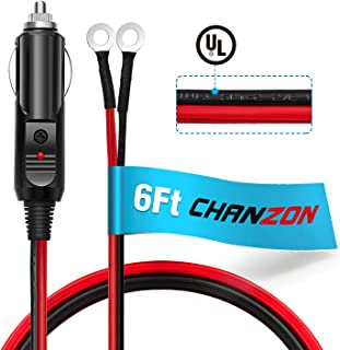 [UL Wire]Chanzon 6Ft Male Plug Cigarette Lighter Outlet + Eyelet Terminal Spring Power Supply Cord 12V 16AWG Heavy Duty Cable Fused DC Power 12 24 Volt Socket for Car Inverter Tire Inflator Air Pump