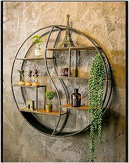 Présentoirs Étagères flottantes murales en métal noir, étagère murale simple étagère circulaire, décoration de salon de ma...
