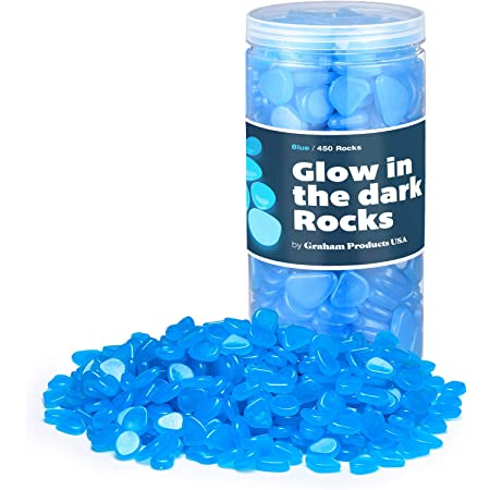 Graham Products Glow in The Dark Rocks Non-Toxic Glowing Stones for Use as Aquarium/Fish Tank Accessories or Indoor/Outdoor Decoration – 450+ Photoluminescent Pebbles