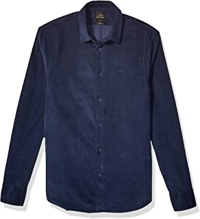 A|X Armani Exchange Men's Long Sleeve Corduroy Button Down Shirt with Pointed Collar