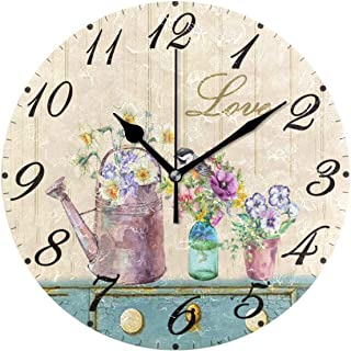Pfrewn Wall Clock Vintage Sunflower Daisy Bird Clock Silent Non Ticking Round Wall Clocks Battery Operated Decor,Watercolor Clocks 10 Inch Quartz Analog Quiet Desk Clock Bedroom Living Room for Kids