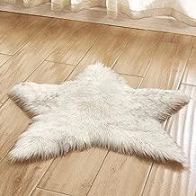vmree Super Soft Wool-Like Faux Fur Area Rug Fluffy Antiskid Star Shaped Foot Carpet Mat Baby Nursery Playmat Elegant Living Room Bedroom Hallway Home Office Decor (White, 2×2 Ft.)