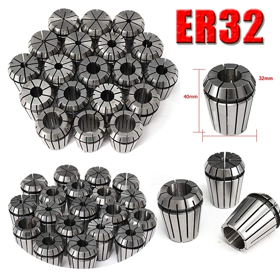 OKSLO 19Pcs ER32 Precision Spring Collet Set for CNC Milling Lathe Tool Workholding