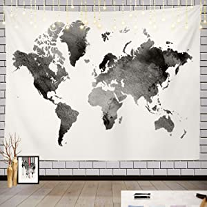 Batmerry Black and White Tapestry, Map of The World Map Watercolor Picnic Mat Hippie Trippy Tapestry Wall Art Meditation Decor for Bedroom Living Room Dorm, 39.4 x 59.1 Inches, Black White 5