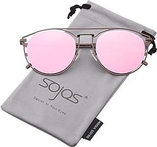 d1b655f668b SOJOS Sunglasses for Women Mirrored Flat Lenses Street Fashion Metal Frame  SJ1097