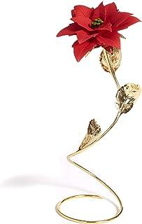 Stella di Natale In Porcellana Su Stelo In Metallo Dorato Fatto A Mano In Italia Da Unionporcelain In Stile Capodimonte, C...