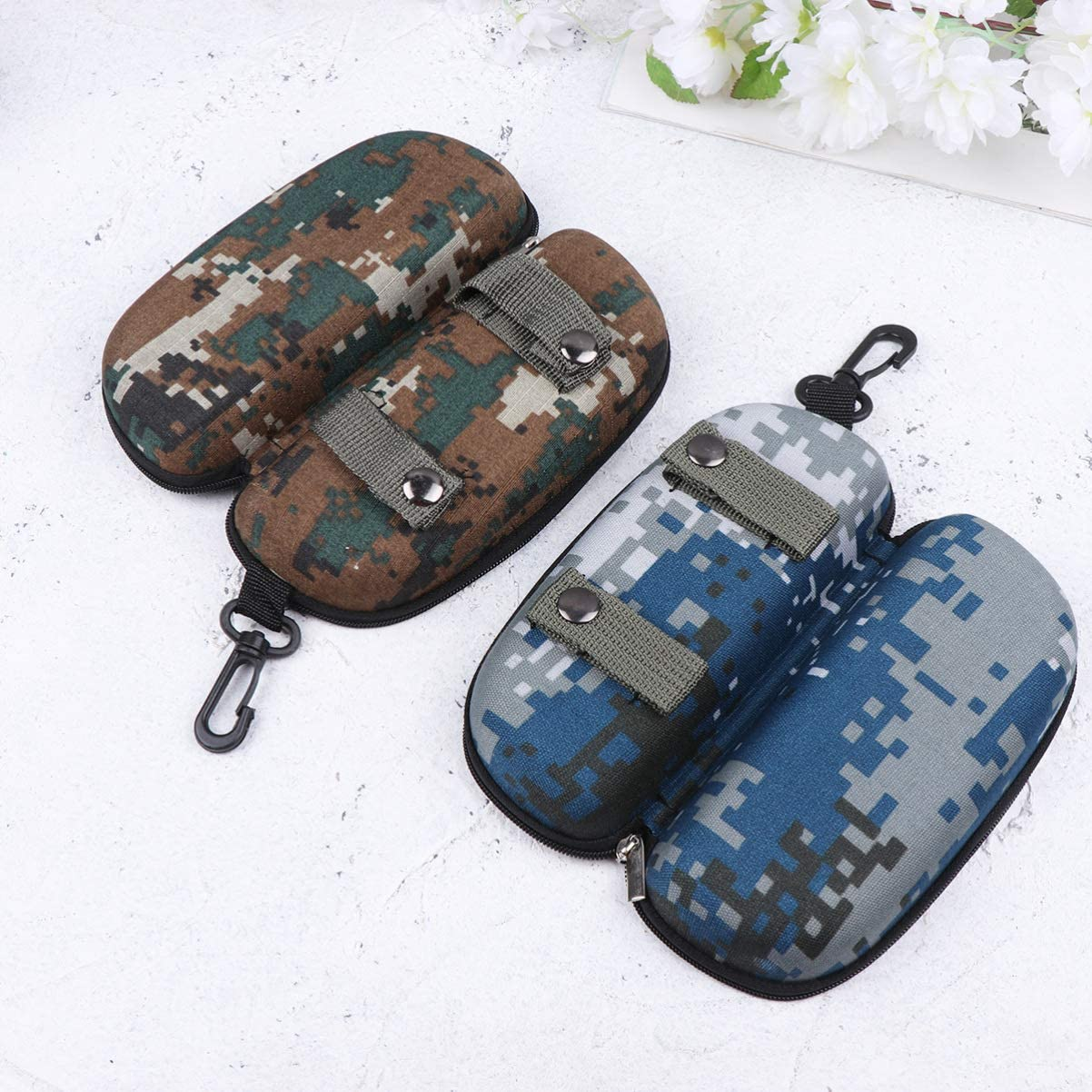 BESPORTBLE Anti-Pressure Zipper Eyeglasses Case Camouflage Outdoor Sports EVA Glasses Case Sunglasses Box Protector with Hook,4PCS