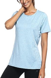 أونيس المرأة قصيرة الأكمام اليوغا تجريب قمم ملابس أكفوير الجري سريعة الجفاف الرياضة تي شيرت للنساء