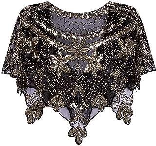 Ultramall Women 1920s Shawl Wrap Art Deco Sequin Beaded Evening Cape Bolero Flapper Cover Up For Women
