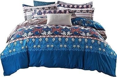 Omelas Retro Bohemian Duvet Cover King Size Boho Ethnic Vintage Floral Bedding Soft Microfiber Navy Blue Brown Printed Damask