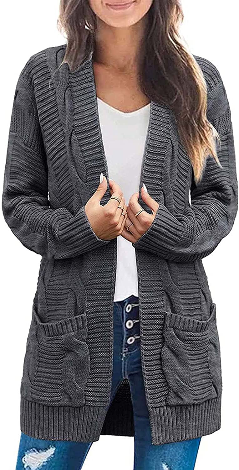 Cisisily Women's Long Sleeve Sweaters Cardigan Open Front Knitted Outwear Coat with Pockets