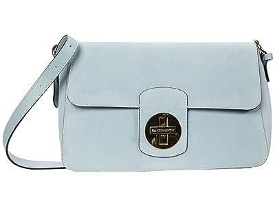 Frances Valentine Ruby Suede Medium Shoulder Flap Bag (Sky Blue) Handbags