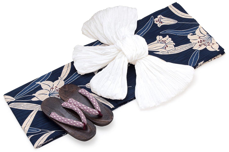レディース浴衣セット[浴衣/兵児帯] bonheur saisons 紺色 ネイビー ベージュ 白 百合 ユリ ゆり 花 雨縞 綿麻 浴衣セット 女性 フリーサイズ