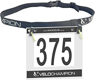 VeloChampion Marathon Triathlon/Runners Running Race BIB Waist Hip Holders Number Card Belt