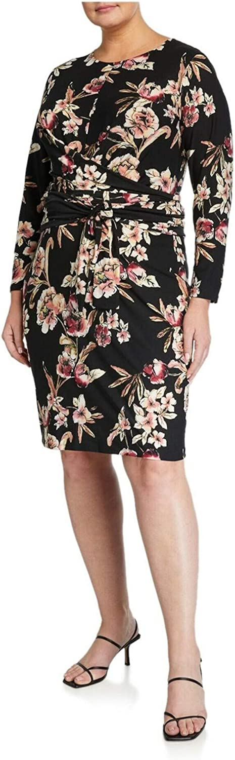 Rachel Roy Womens Black Belted Floral Long Sleeve Jewel Neck Above The Knee Sheath Wear to Work Dress Size 0X