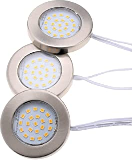 Lumien LED Under Cabinet Lighting Kit 1050 Lumens, Slim Design, Diameter:2.37 inches;Thickness: 0.31 inches. 3 Puck Lights with Decorative Brushed Nickel Covers, Dimmable, Warm White 3000 K, CRI: 90.