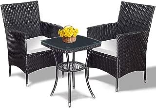 TNPSHOP 3PCS Patio Garden Rattan Wicker Furniture Set Sofa Cushioned Table W/Lower Shelf